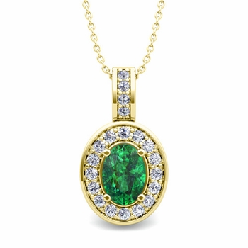 Diamond and Emerald Cluster Necklace in 18k Gold 7x5mm