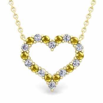 Pave Diamond and Yellow Sapphire Heart Necklace in 18k Gold Pendant
