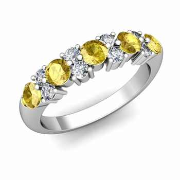 Garland Diamond and Yellow Sapphire Wedding Ring in 14k Gold