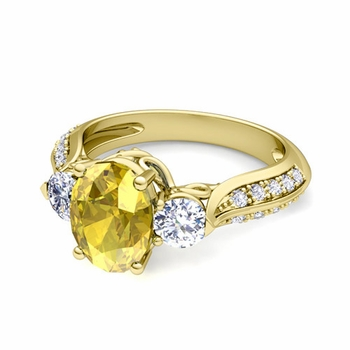 Vintage Inspired Diamond and Yellow Sapphire Three Stone Ring in 18k Gold, 7x5mm