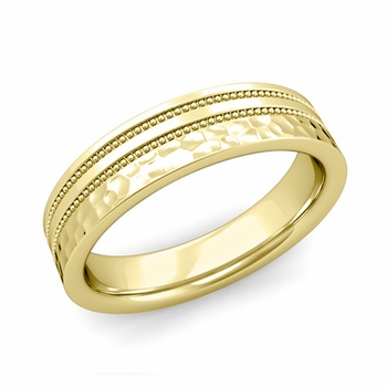 Double Milgrain Wedding Ring in 18k Gold Comfort Fit Band, Hammered Finish, 5mm