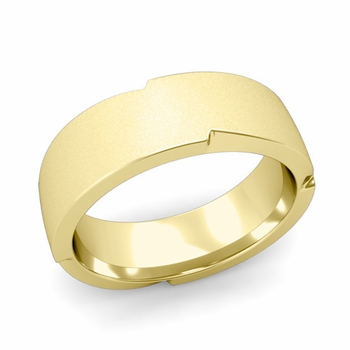 Unique Comfort Fit Wedding Band with Matte Satin Finish in 18k Gold Band, 7mm
