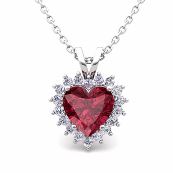 Heart Garnet and Diamond Necklace in 14k Gold Pendant