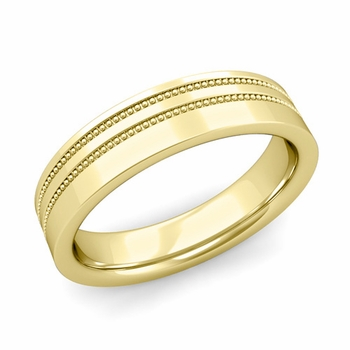 Double Milgrain Wedding Ring in 18k Gold Comfort Fit Band, Polished Finish, 5mm
