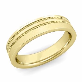 Double Milgrain Wedding Ring in 18k Gold Comfort Fit Band, Satin Finish, 5mm