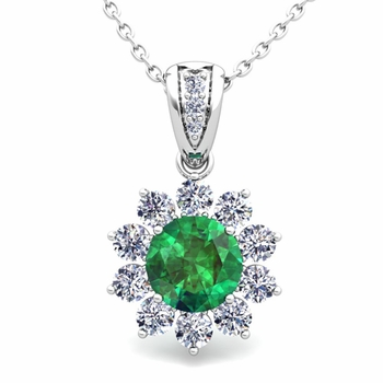 Halo Diamond and Emerald Pendant in 14k Gold Necklace 6mm