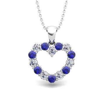 Heart Diamond and Sapphire Necklace in 14k Gold Pendant