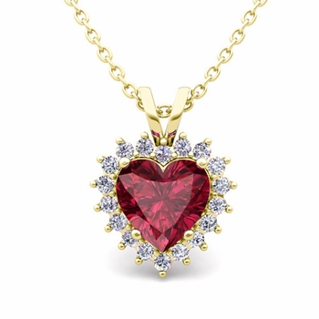 Heart Garnet and Diamond Necklace in 18k Gold Pendant