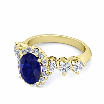 Crown Set Diamond and Sapphire Engagement Ring in 18k Gold, 7x5mm