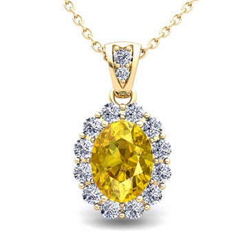 Halo Diamond and Yellow Sapphire Necklace in 18k Gold Pendant 8x6mm