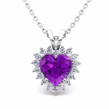 Heart Amethyst and Diamond Necklace in 14k Gold Pendant