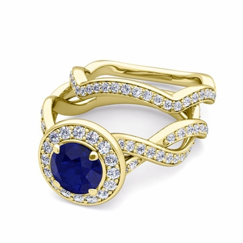 Infinity Diamond and Sapphire Engagement Ring Bridal Set in 18k Gold, 7mm