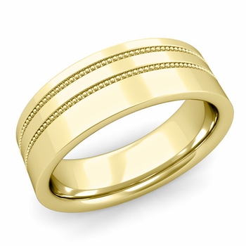 Double Milgrain Wedding Ring in 18k Gold Comfort Fit Band, Polished Finish, 7mm