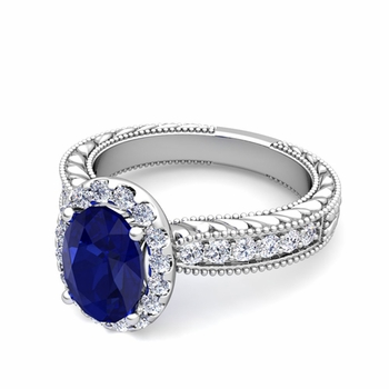 Vintage Inspired Diamond and Sapphire Engagement Ring in 14k Gold, 7x5mm