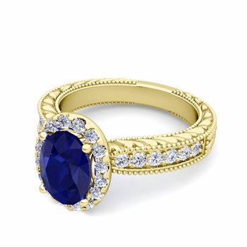 Vintage Inspired Diamond and Sapphire Engagement Ring in 18k Gold, 7x5mm