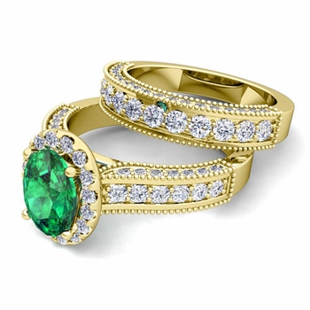 Bridal Set of Heirloom Diamond and Emerald Engagement Wedding Ring in 18k Gold, 7x5mm