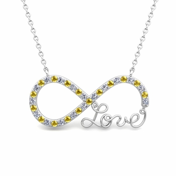 Infinity Diamond and Sapphire Love Necklace in 18k Gold Pendant