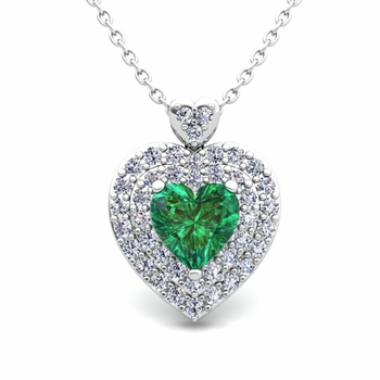 Two Heart Diamond and Emerald Necklace in 14k Gold Pendant