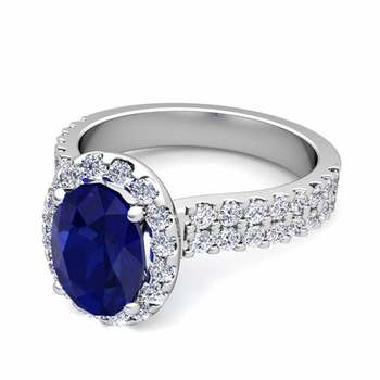 Two Row Diamond and Sapphire Engagement Ring in Platinum, 9x7mm