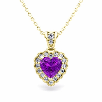 Milgrain Diamond and Amethyst Heart Necklace in 18k Gold Pendant