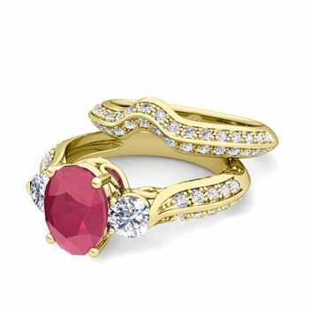 Vintage Inspired Diamond and Ruby Three Stone Ring Bridal Set in 18k Gold, 7x5mm