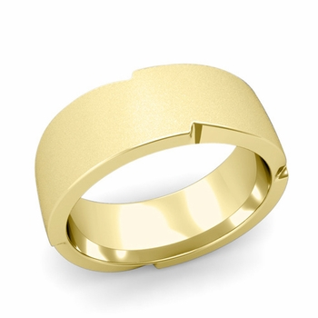 Unique Comfort Fit Wedding Band with Matte Satin Finish in 18k Gold Band, 8mm