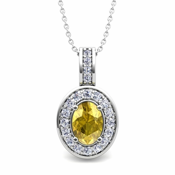 Diamond and Yellow Sapphire Cluster Necklace in 14k Gold 7x5mm