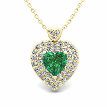 Two Heart Diamond and Emerald Necklace in 18k Gold Pendant