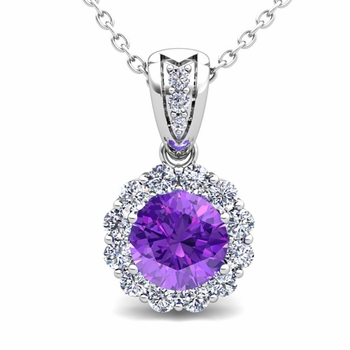 Diamond and Amethyst Pendant in 14k Gold Halo Necklace 6mm