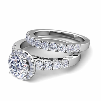 Halo Bridal Set: Pave Set Diamond Engagement Wedding Ring Set in Platinum