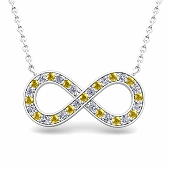 Classic Diamond and Yellow Sapphire Necklace in 14k Gold Infinity Pendant