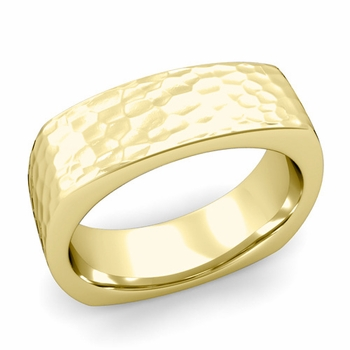 Square Comfort Fit Wedding Ring in 18K Gold Matte Hammered Band, 7mm