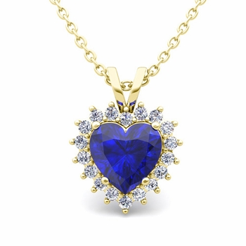 Heart Sapphire and Diamond Necklace in 18k Gold Pendant