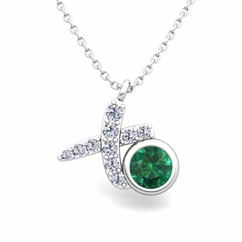 Pave Diamond and Solitaire Emerald in 14k Gold XO Pendant