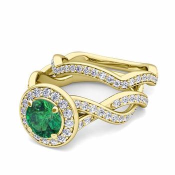 Infinity Diamond and Emerald Engagement Ring Bridal Set in 18k Gold, 7mm