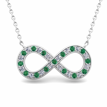 Classic Diamond and Emerald Necklace in 14k Gold Infinity Pendant