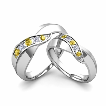 Matching Wedding Band in Platinum Infinity Diamond and Yellow Sapphire Wedding Rings