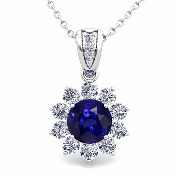 Halo Diamond and Sapphire Pendant in 14k Gold Necklace 6mm