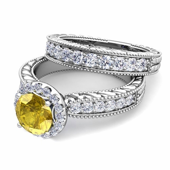 Vintage Inspired Diamond and Yellow Sapphire Engagement Ring Bridal Set in 14k Gold, 7mm