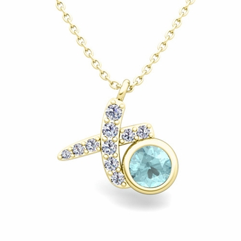 Pave Diamond and Solitaire Aquamarine in 18k Gold XO Pendant