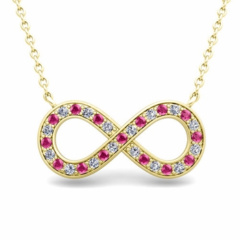 Classic Diamond and Pink Sapphire Necklace in 18k Gold Infinity Pendant