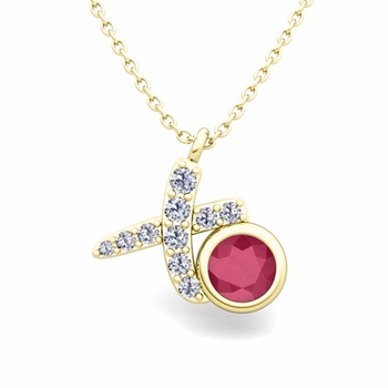 Pave Diamond and Solitaire Ruby in 18k Gold XO Pendant
