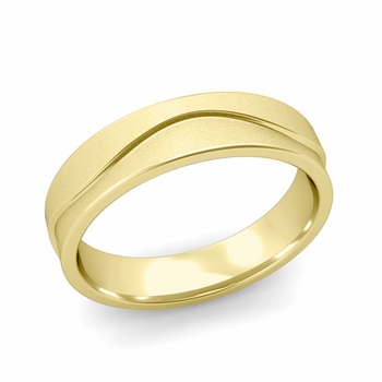 Wave Wedding Band in 18k Gold Comfort Fit Ring, Satin Finish, 5mm