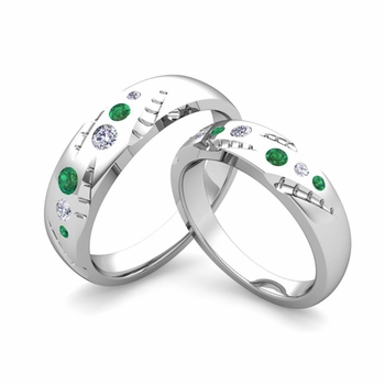 Matching Wedding Ring Set: Flush Set Diamond and Emerald Ring in Platinum