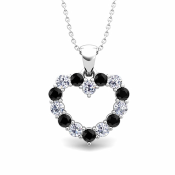 Heart Black and White Diamond Necklace in 14k Gold Pendant