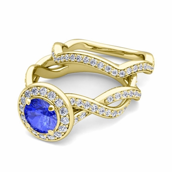 Infinity Diamond and Ceylon Sapphire Engagement Ring Bridal Set in 18k Gold, 7mm
