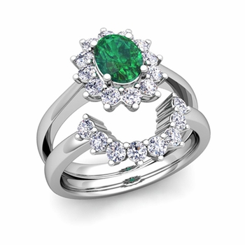 Diamond and Emerald Diana Engagement Ring Bridal Set in Platinum, 7x5mm