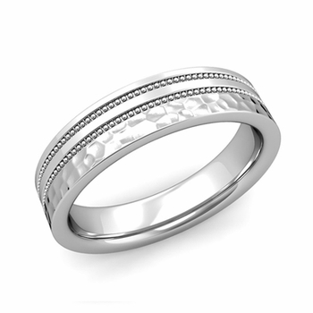 Double Milgrain Wedding Ring in Platinum Comfort Fit Band, Hammered Finish, 5mm