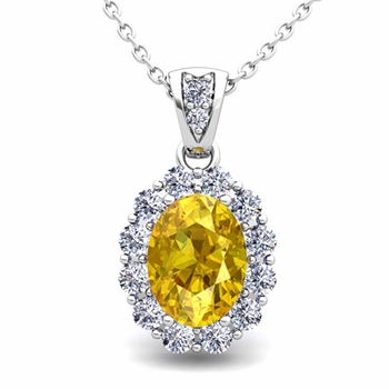 Halo Diamond and Yellow Sapphire Necklace in 14k Gold Pendant 8x6mm
