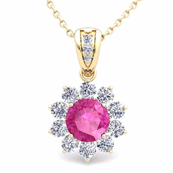 Halo Diamond and Pink Sapphire Pendant in 18k Gold Necklace 6mm